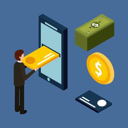 Man inserting credit card on mobile money cash isometric illustration.