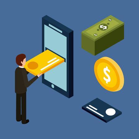 Man inserting credit card on mobile money cash isometric illustration. Reklamní fotografie - 91517611