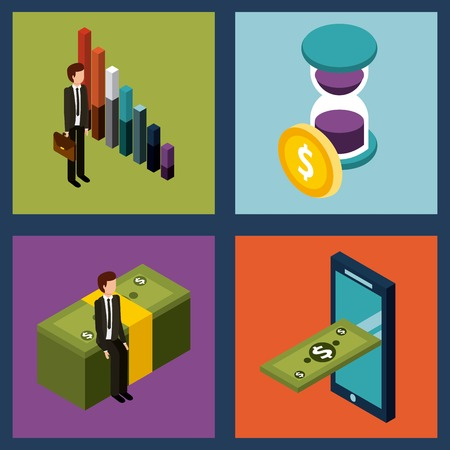 Money isometric set of icons business vector illustration