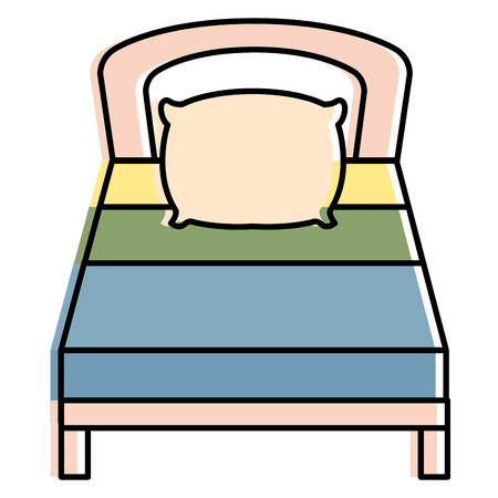 comfortable bed isolated icon vector illustration design Illusztráció
