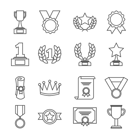 Awards trophy and winning ribbon success icons.