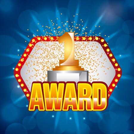 award golden number one on light festive stage podium scene vector illustration