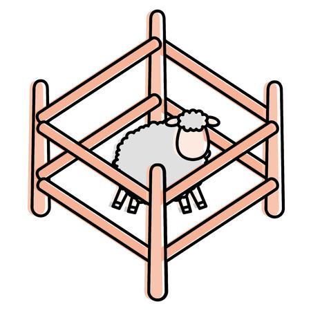 cute sheep in fence character icon vector illustration design Ilustração