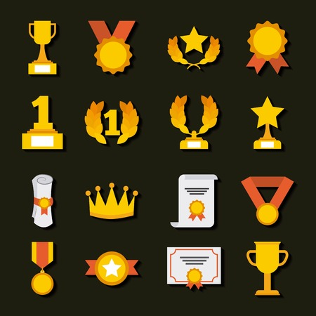 trophy medals and winning ribbon vector illustration Illustration