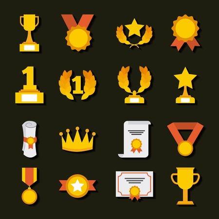trophy medals and winning ribbon vector illustration Illusztráció