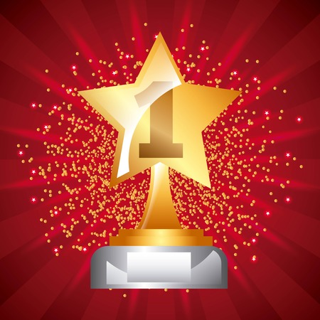 star award trophy icon number one stars dot background vector illustration