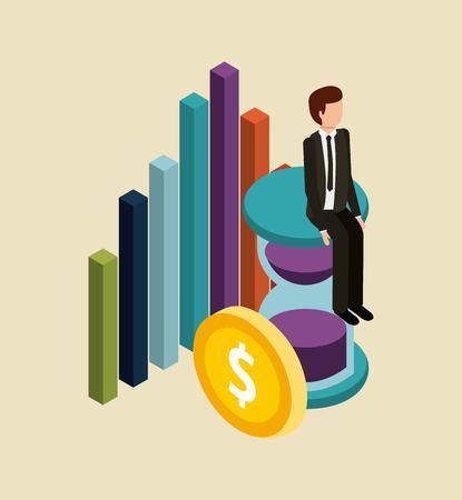 Uomo d'affari che si siede nell'illustrazione isometrica di vettore del grafico dei soldi dell'orologio Archivio Fotografico - 91444516
