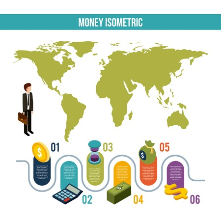 Money isometric infographic businessman world map business steps commerce finance vector illustration