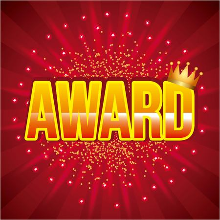 award golden crown and bright red background poster vector illustration