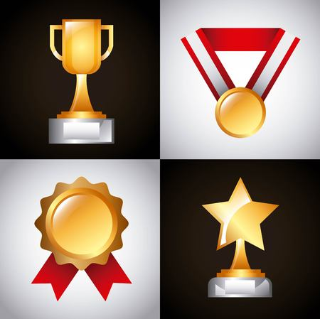 awards trophy medals and winning ribbon success icons symbols vector illustration