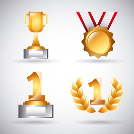 awards trophy medals and winning ribbon vector illustration Stock Vector - 91670518