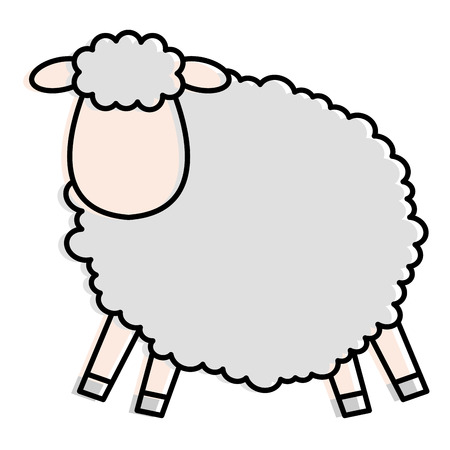 cute sheep character icon vector illustration design