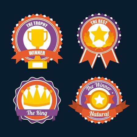 awards trophy medals and winning ribbon vector illustration Ilustracja