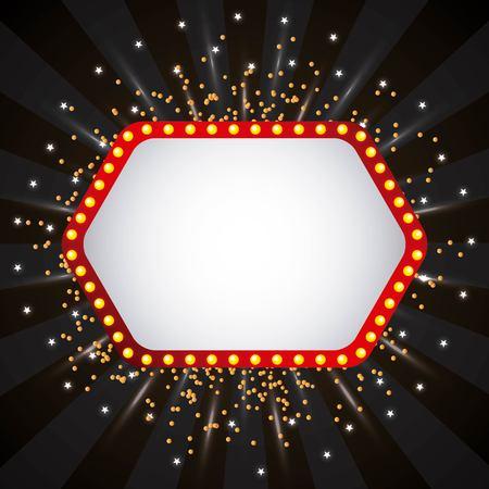 Empty banner with glowing stars on dark illustration.