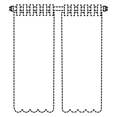 寝室カーテン孤立アイコンベクトルイラストデザイン