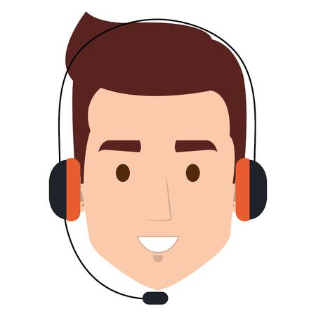 call center agent head avatar character vector illustration design