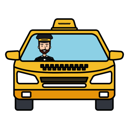 taxi with driver service public icon vector illustration design