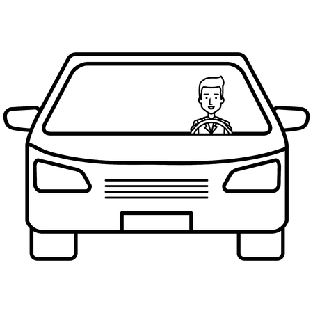 car vehicle with driver isolated icon vector illustration design