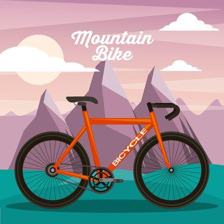 mountain bike sport natural landscape vector illustration