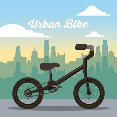 urban bike buildig city sport recreation vector illustration