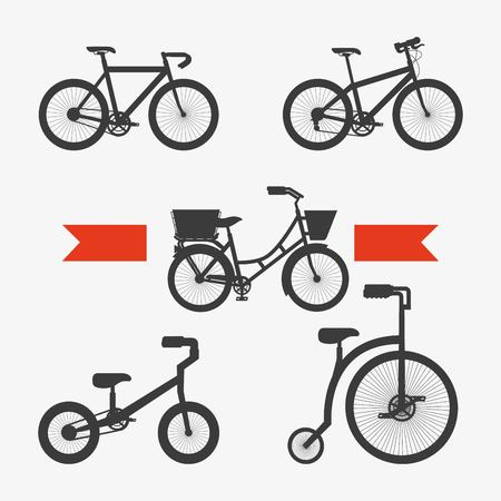 set of the different bicycles sport transport touring vector illustration