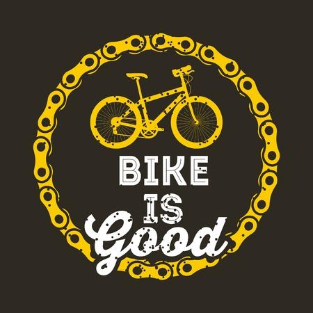 Bike is good round chain poster, dark background, vector illustration