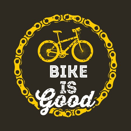 Bike is good round chain poster, dark background, vector illustration