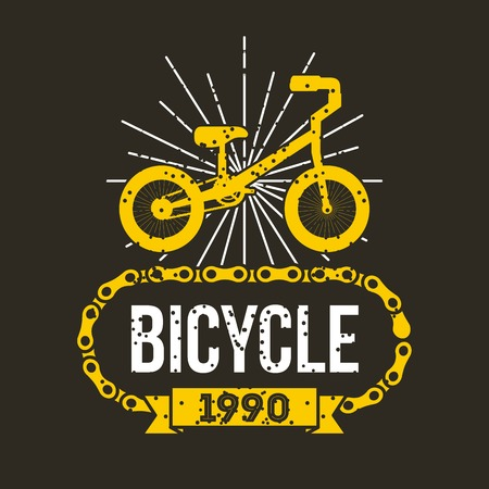 bicycle chain classic retro banner vector illustration