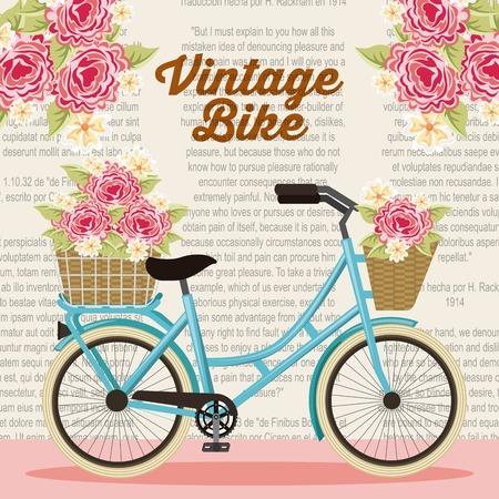 vintage bike basket flowers natural decoration poster vector illustration Ilustração