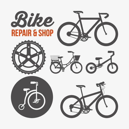 repair and shop the different bicycles sport transport poster vector illustration