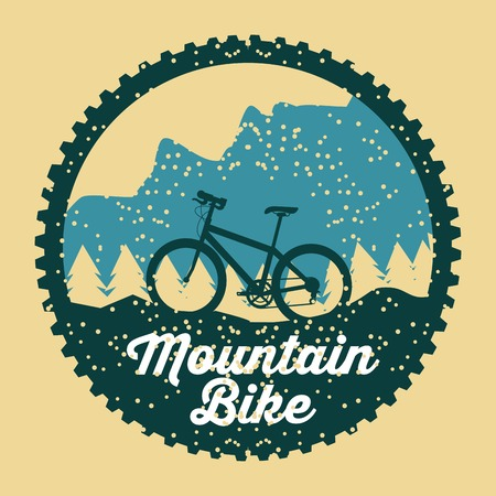 mountain bike grunge badge fun sport vector illustration
