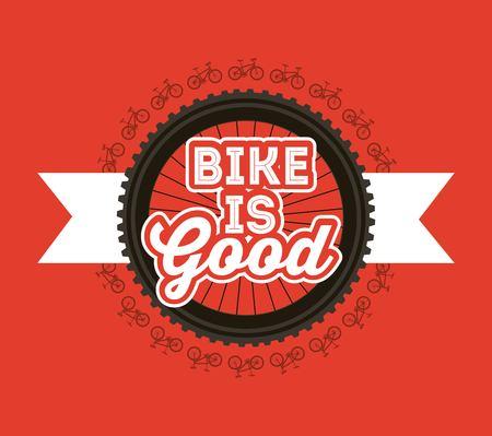 자전거는 좋은 자전거 바퀴 리본 배너 빨간색 배경 벡터 일러스트 레이션 일러스트