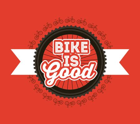 bike is good bicycles wheel ribbon banner red background vector illustration