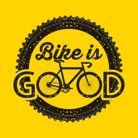 fiets is goed ronde grunge stijl gele achtergrond label vector illustratie