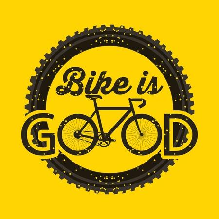bike is good round grunge style yellow background label vector illustration