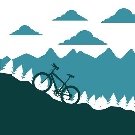 マウンテンバイク上昇シルエット風景ベクトルイラスト  イラスト・ベクター素材