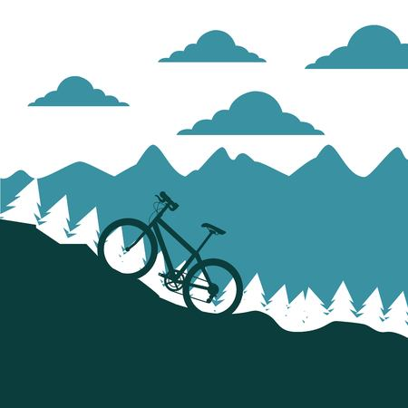 mountain bike ascending silhouette landscape vector illustration Ilustração