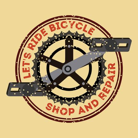 lets ride bicycle shop and repair pedal chain badge vector illustration