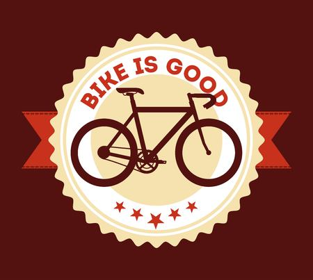 La bicicleta es buena cinta de identificación estilo retro imagen vector ilustración Foto de archivo - 91480165