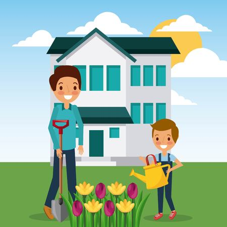 woman and boy watering flowers garden home vector illustration