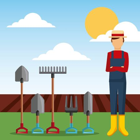 gardener with garden tools and plowing field vector illustration Illustration