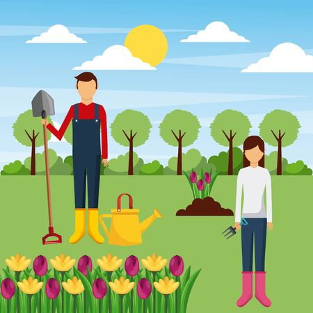 ツールと花の木フィールドベクトルイラストとカップルの庭師
