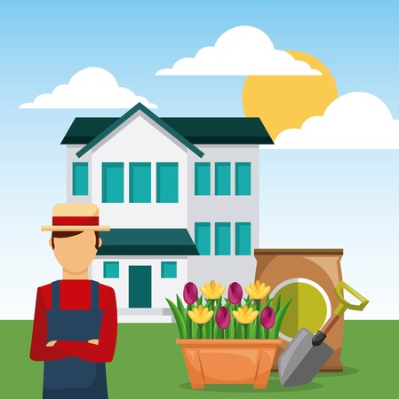 man gardener in garden house with shovel and sack of fertilizer vector illustration