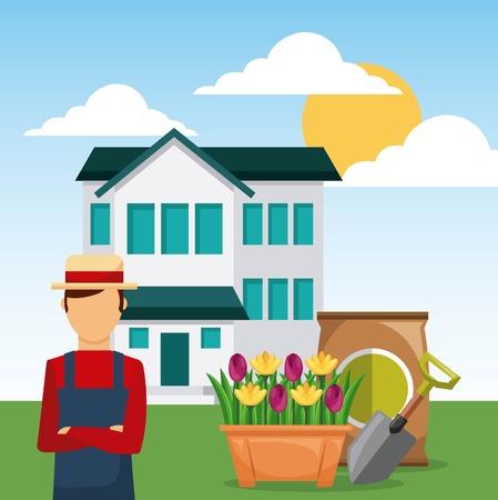 man gardener in garden house with shovel and sack of fertilizer vector illustration