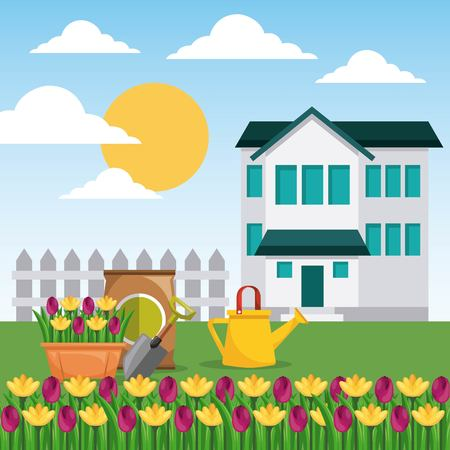 house garden fence potted flowers watering can and sack fertilizer vector illustration Illustration