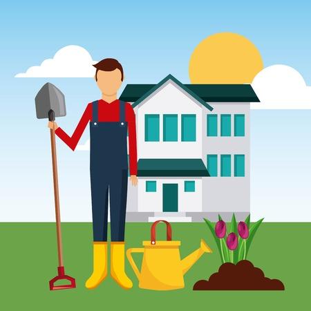 gardener front house planting tulip flower with shovel vector illustration