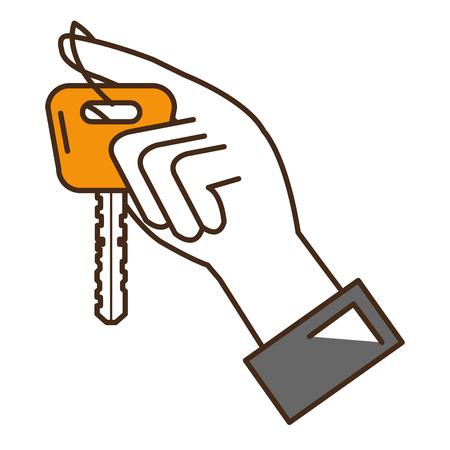 Main avec clé de voiture isolé icône vector illustration design Banque d'images - 91480193