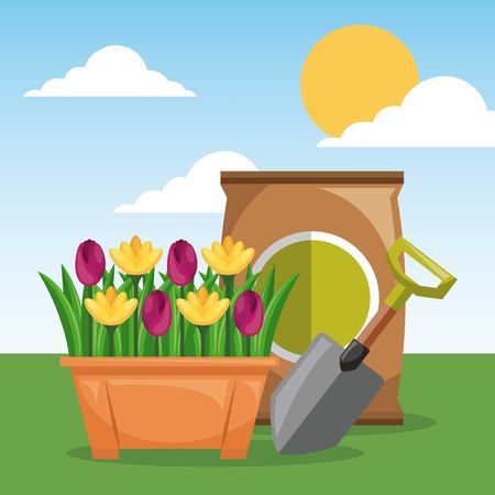 potted flowers shovel and fertilizer garden sun sky vector illustration Illustration