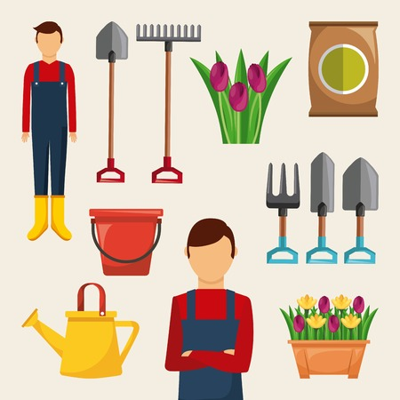 gardening set of icons gardener tools flowers sack fertilizer bucket vector illustration