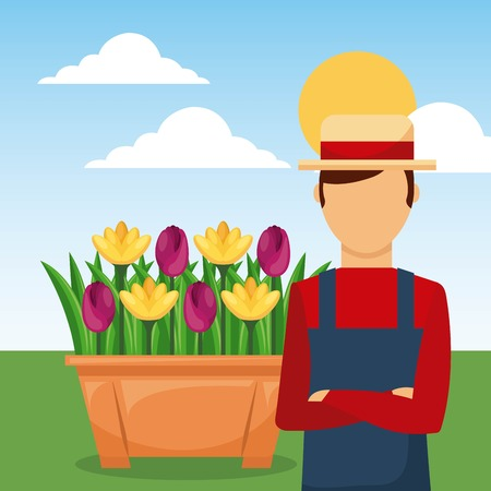 gardener with arms folded in the garden with flowers vector illustration Illusztráció